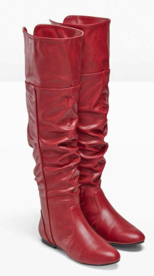 Műcélú vörös csizma műbőrből