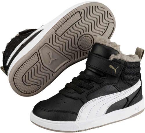 Fekete-fehér gyermek téli tornacipő Puma REBOUND STREET V2 FUR PS PS