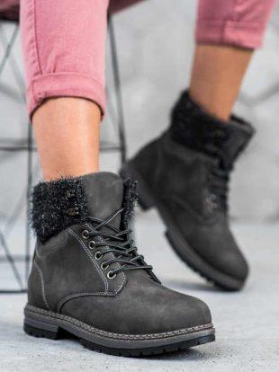 Női divatos trapper cipő szürke színben